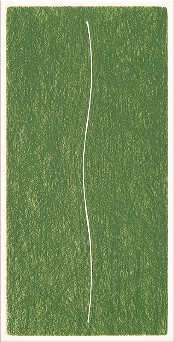 """Slip/1"", 1998. Etching, edition of 20. Image: 10"" x 5"", paper: 14"" x 9""."